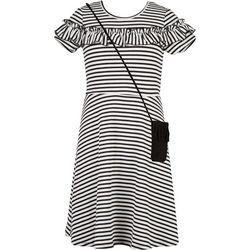 Speechless Big Girls Striped Ruffle Dress & Purse