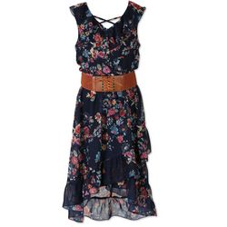 Speechless Big Girls Floral Belted Crisscross Boho Dress