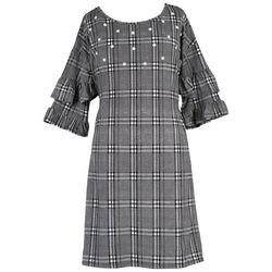 Speechless Big Girls Plaid Pearl Ruffle Sleeve Dress