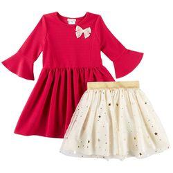 Self Esteem Little Girls 2-in-1 Star Skirt & Dress Set