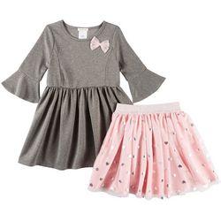 Self Esteem Little Girls 2-in-1 Heart Skirt & Dress Set