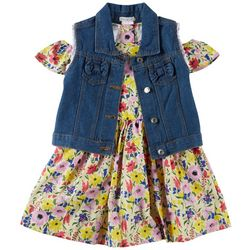 Forever Me Little Girls 2-pc. Floral Dress & Denim Vest Set