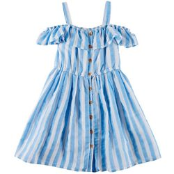 Self Esteem Little Girls Striped Cold Shoulder Dress