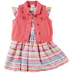 Self Esteem Little Girls 2-pc. Geo Print Dress & Vest Set
