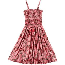 1st Kiss Big Girls Floral Stripe Smocked Sleeveless Dress