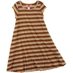 1st Kiss Big Girls Striped Ribbed Swing Dress