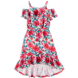 1st Kiss Big Girls Floral Ruffle Cold Shoulder
