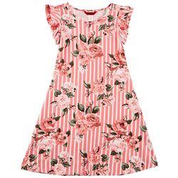 1st Kiss Big Girls Floral Striped Ruffle Sleeve Dress