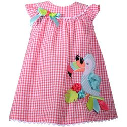 Bonnie Jean Little Girls Plaid Toucan Seersucker Dress