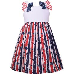 Bonnie Jean Little Girls Americana Stars and Stripes Dress