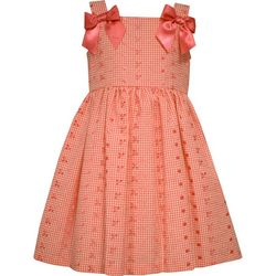Bonnie Jean Little Girls Plaid Eyelet Embroidered Dress