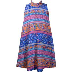 Bonnie Jean Big Girls Floral Striped Swing Dress