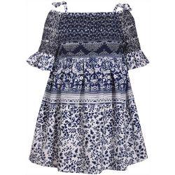 Bonnie Jean Little Girls Floral Print Smocked Dress