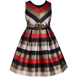 Bonnie Jean Big Girls Shimmer Striped Dress