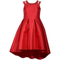 Bonnie Jean Big Girls Solid Pleated Split Shoulder Dress