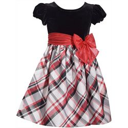 Bonnie Jean Little Girls Plaid Velvet Dress