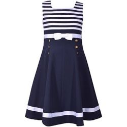 Bonnie Jean Little Girls Stripe Print Nautical Dress
