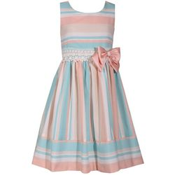 Bonnie Jean Little Girls Striped Bow Waist Dress