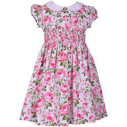 Bonnie Jean Little Girls Smocked Roses Dress