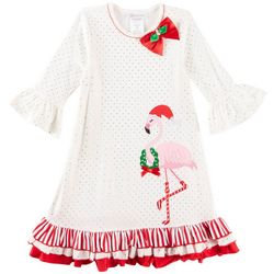 Bonnie Jean Little Girls Holiday Flamingo Dress