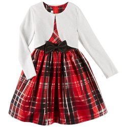 Bonnie Jean Big Girls Plaid Bow Dress Cardigan Set