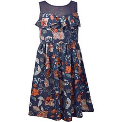 Bonnie Jean Big Girls Floral Bow Back Illusion Dress