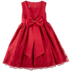 Princess Faith Little Girls Floral Embroidered Bow Dress