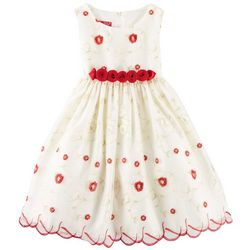 Princess Faith Little Girls Rose Embroidered Dress