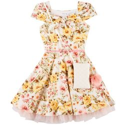 Beautees Big Girls Floral Belted Dress