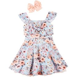 Beautees Big Girls Floral Tie Front Ruffle Sleeve Dress