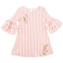Beautees Big Girls Striped Floral Bell Sleeve Dress