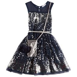 Beautees Big Girls Sequined Tulle Sleeveless Dress