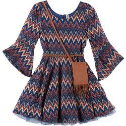 Beautees Big Girls Chevron Bell Sleeve Crochet Dress