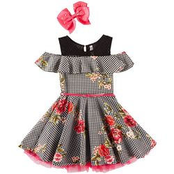 Beautees Big Girls Floral Houndstooth Cold Shoulder Dress