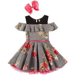 Beautees Big Girls Floral Houndstooth Cold Shoulder Dress