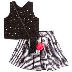 Beautees Big Girls 3-pc. Floral Stripe Embellished Skirt Set