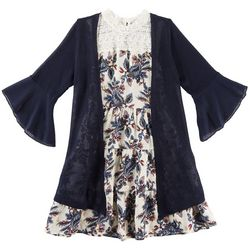 Beautees Big Girls Paisley Prairie Dress Cardigan Set