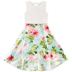 Trixxi Big Girls Floral Jewel Waist Sleeveless Dress