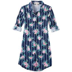No Comment Big Girls Floral Stripe Tie Back Dress