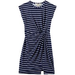 No Comment Big Girls Striped Twist Front Dress
