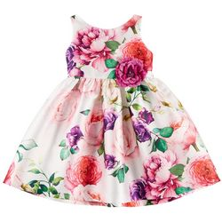 Pretty as a Picture Little Girls Floral Embellished Dress