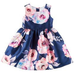 Pretty As A Picture Little Girls Floral Sleeveless Dress