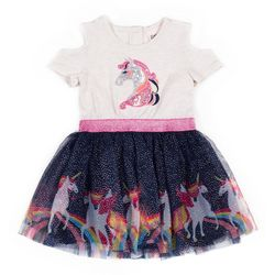 Little Lass Little Girls Sequin Unicorn Tulle Dress