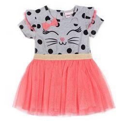Little Lass Little Girls Polka Dot Cat Tulle Dress