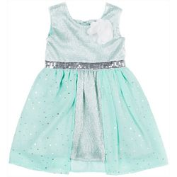 Little Lass Little Girls Shimmer Bow Back Dress