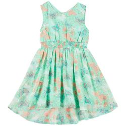 Little Lass Little Girls Butterfly Print Dress