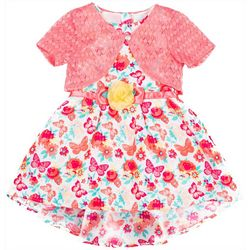 Little Lass Little Girls Butterfly Dress Shrug Set