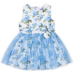 Little Lass Little Girls Floral Tulle Sleeveless Dress
