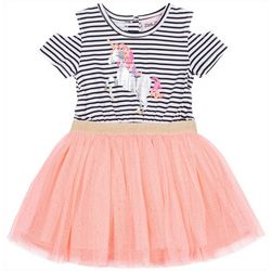 Little Lass Little Girls Unicorn Graphic Tulle Dress