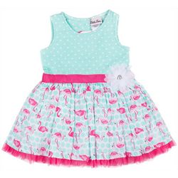 Little Lass Little Girls Flamingo Dot Dress